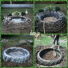 reciclagem de pneus jardim - Pesquisa Google Outdoor Crafts, Outdoor Fun, Outdoor Decor, Tyres Recycle, Water Pond, Recycled Garden, Decoration Table, Front Yard Landscaping, Garden Planters