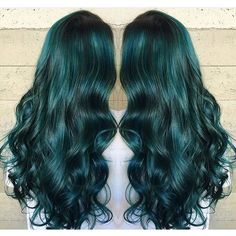 Hunter Green Hair Color and thick, wavy long hair hairstyle by Jessica Warburton hotonbeauty.com