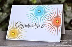 """""""Congratulations with a bang using Kinda Eclectic from Stampin' Up"""" - Vicky Hayes - July 24/14"""