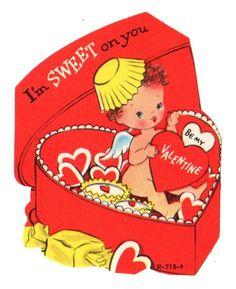 "CUTE CHERUB IN HEART SHAPED CANDY BOX ""I'M SWEET ON YOU"" /VINTAGE VALENTINE CARD"