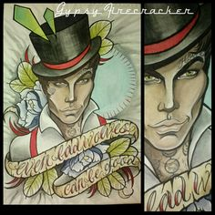 Even bad wolves can be good. Dapper tattooed stud, neo traditional flash art by Gypsy Firecracker