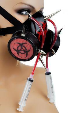Red Tubes Syringe Spike Bio Hazard Gas Mask Dual Respirator