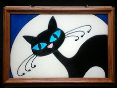 Black Cat Moon Window Art faux stain glass painted sun catcher halloween kitty pet kitten night decoration mom for her mother's day