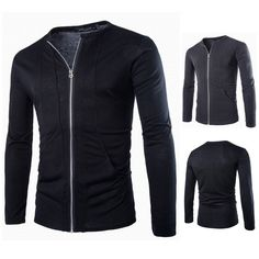 High Quality Korean Style Slim Fit Stand Collar Classic Hoodies