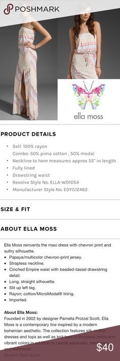 Ella Moss Santana Maxi Dress ✔️Beautiful Chevron Dress ✔️Cotton/Modal Blend ✔️Front Side Slit ✔️Empire Waist ✔️No Holes, Stains or Damages (beads missing from second drawstring) Ella Moss Dresses Maxi