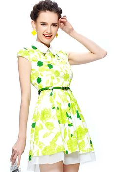 ROMWE | Belted Green Floral Dress, The Latest Street Fashion