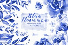 Blue Florence. Floral Collection by OctopusArtis on Creative Market