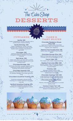 Bakery Menu Templates for a Professional Look - MustHaveMenus Bakery Menu, Restaurant Menu Design, Menu Maker, Cupcake Images, Ice Cake, Cupcake Shops, Desserts Menu, Menu Templates, New Menu