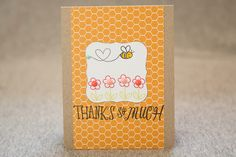Thanks so much card using lawn fawn bee mine stamp