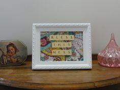 Cute Scrabble Art  Bless This Mess  Framed by LionelandBertie, $15.00