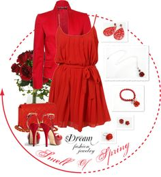"""""""Dream Fashion Jewelry Collection - Smell Of Spring - Red"""" by dreamfashionjewelry ❤ liked on Polyvore"""