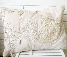 Handmade Vintage Lace Pillow, 19x26 - From http://www.etsy.com - SOLD