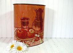 Still Life Copper Embossed Metal Waste Can  by DivineOrders, $23.00