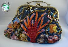 Coral Reef Purse, Battle of the BeadSmith 2015 entry. My entry made it to round 2 but I had the best win of all because I sold it. If you would like a custom underwater sea design for your own contact me at ANGELQUECREATIONS on Etsy