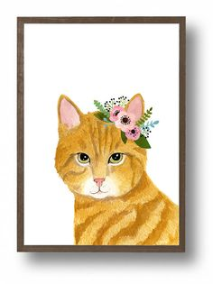 Watercolor cats. set of 2 flower crown cats Animal by zuhalkanar