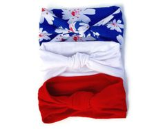 Set of 3 Knotted Turban Headband - Sale Lot Best Deal - white royal blue floral mint red aqua infant baby toddler child adult