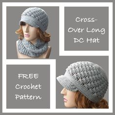 FREE crochet pattern for a Cross-Over Long DC Hat.
