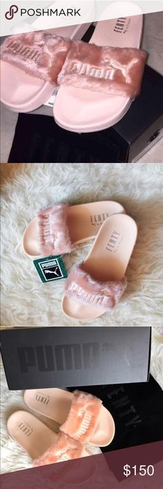 Puma X Fenty Leadcat Fur Slides -PINK The HOTTEST trend this summer and for many summers to come! After it's 3rd release some have yet to grab a pair of the infamous slides! Here's your chance!    WORN ONCE!  In EXCELLENT condition Comes with box and dust bag! Very Plush Faux Fur Comfortable insoles  RUNS HALF SIZE LARGE!  FITS Women's SIZE 10  TRUE TO SIZE 9.5 Puma Shoes Slippers