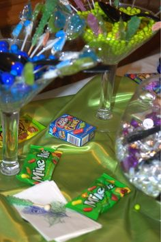 Wedding candy buffet at our peacock themed wedding.