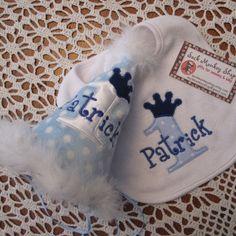 Prince Light Blue Dot Personalized  Appliqued First Birthday Hat an...... | sockmonkeyshop - Children's on ArtFire