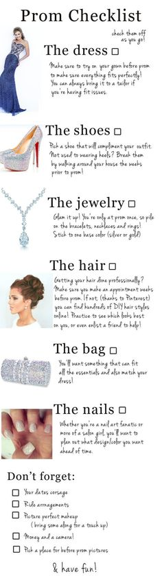Here is your prom 2015 checklist! Shop for your dream dress at www.promdressshop.com ! :)
