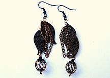 Dark Chocolate Brown Leather Earrings with by SimplyLeatherz, $19.99