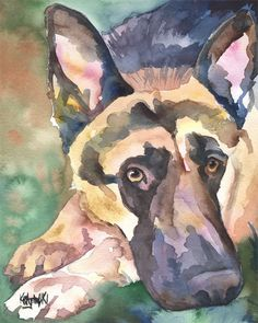 German Shepherd Art Print of Original Watercolor by dogartstudio
