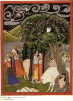 Radha and Krishna and Gopalas Shelter from the rain. Garwhal, India. ca. 1800-25