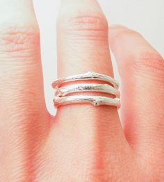 Silver Twig Stacking Rings in Jewelry by Blue Dot Jewelry on Scoutmob Shoppe. Each of these beautiful silver rings are handmade from pieces of a real tree with unique branch detailing.