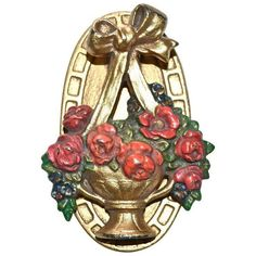 Hubley Flower Basket Door Knocker (355 RON) ❤ liked on Polyvore featuring home, home decor, decorative hardware, door knockers, decorative door hardware, cast iron door knocker, flower stem, door knocker and flower home decor