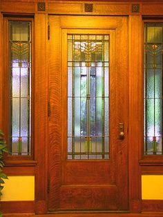 Arts and Crafts Period - included Craftsman Style, Prairie/Mission Style, Art Nouveau Style. Do your research to do this style well as it holds much integrity overall. I love this entry door. Craftsman Door, Craftsman Interior, Craftsman Style Homes, Craftsman Bungalows, Bungalow Homes, Interior Door, Arts And Crafts Furniture, Arts And Crafts House, Home Crafts