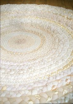mandy greer rag rug: snowy white rag rug think I might need to bust out my crafty and make one of these for Little Girl's room.