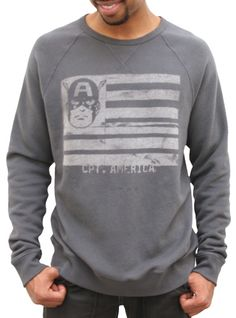 Junk Food Clothing - Men's New Arrivals - Long Sleeve - Captain America Flag Super Soft Vintage Crew Neck Sweatshirt