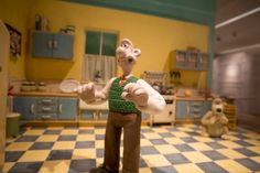 Wallace pauses in the kitchen, no doubt before breaking out some of his beloved Wensleydale.
