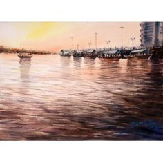 A. Q. Arif, 11 x 15 Inch, Water Color on Paper, Seascape Painting, AC-AQ-090