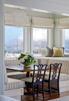Can you imagine eating here with this stunning view of SF Bay?! Love the Chippendale chairs combined with the tailored banquette. Kendall Wilkinson design.