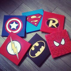 Superhero canvas set x 3 / wall art / boys