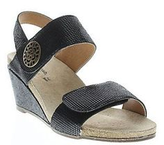 Spring Step Leather Wedge Sandals - Naila