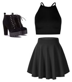 """""""All black"""" by emmahyde02 on Polyvore featuring Boohoo"""
