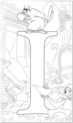 Disney Coloring Pages Printables, Disney Coloring Sheets, Disney Princess Coloring Pages, Disney Princess Colors, Disney Colors, Coloring Letters, Alphabet Coloring Pages, Coloring Book Pages, Coloring Pages For Kids