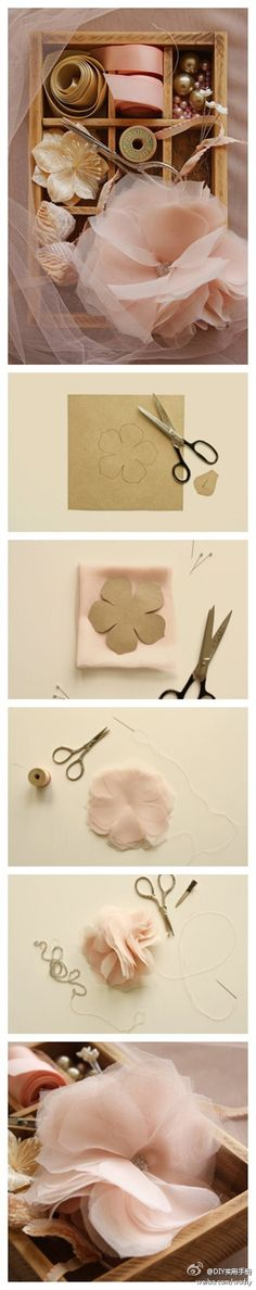 DIY Silk Flower...I am thinking about using this pattern and a couple other ones and then adding lace and pearls etc to it for the example bouquet