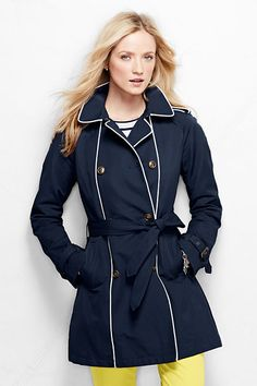 Double Breasted Trench Coat with Piping