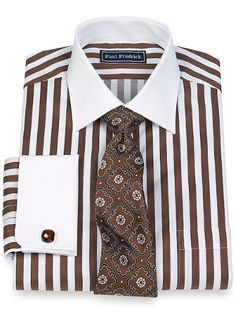 Cotton Bold Satin Stripe Spread Collar French Cuff Dress Shirt from Paul Fredrick. Not crazy about the tie. Sharp Dressed Man, Well Dressed Men, Mens Tee Shirts, Cool Shirts, Suit Fashion, Mens Fashion, Shirt Tie Combo, Shirt And Tie Combinations, Men Dress