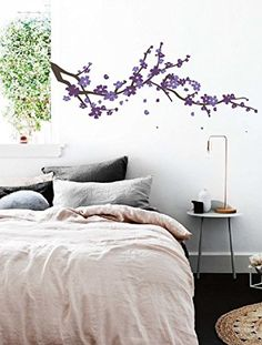 Large Japanese Cherry Blossom Tree Branch Vinyl Decal Wall Sticker for Girls Flowery Room Decor Brown Purple Lavender 19x48 inches *** Continue to the product at the image link.
