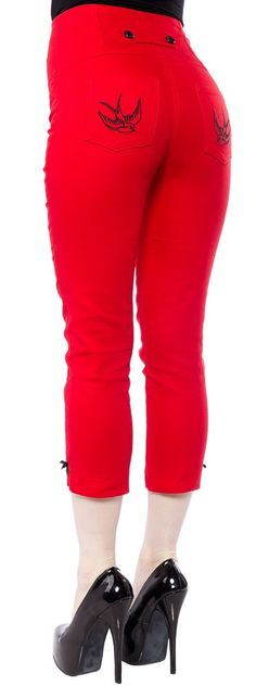 STEADY HIGH WAIST SWALLOW CAPRIS RED                                                                                                                                                                                 More