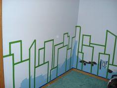 My son's superhero room:  Cityscape Mural - Step 1