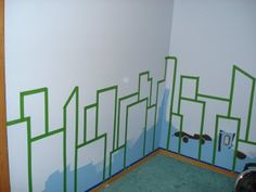 My son's superhero room: Cityscape Mural - Step 1
