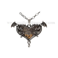 Steampunk Gears Dual Dragons Hearts Necklace