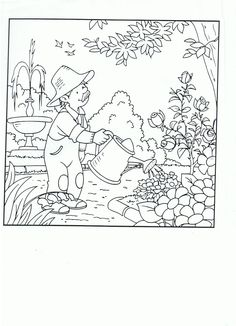 * In de tuin... Rainy Day Activities, Summer Activities For Kids, Crafts For Kids, Garden Drawing, Coloring Book Pages, Amusement Park, Coloring Pages For Kids, Garden Projects, Vintage World Maps