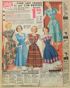 1950s Day House dress Dress Ad Shirtwaist or Housedress by DustyDiggerLise color print ad illustration red plaid blue dots stripes floral two tone